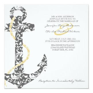 Invitación gris y amarilla del boda de playa del invitación 13,3 cm x 13,3cm