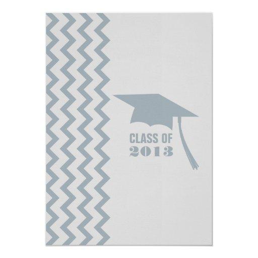 Invitación gris y azul 2013 de la graduación del