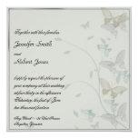 Invitación gris y azul del prado de la mariposa invitación 13,3 cm x 13,3cm