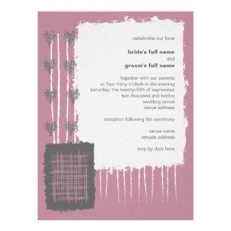 Invitación gris y rosada 3 de la paloma del boda