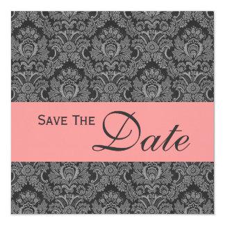 Invitación gris y rosada del boda del monograma invitación 13,3 cm x 13,3cm