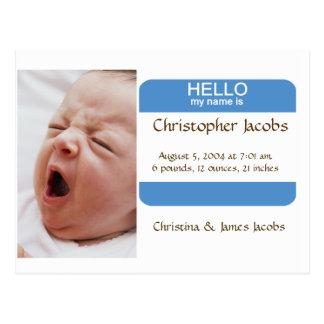 Invitación hábil del nacimiento del Nametag para Tarjetas Postales