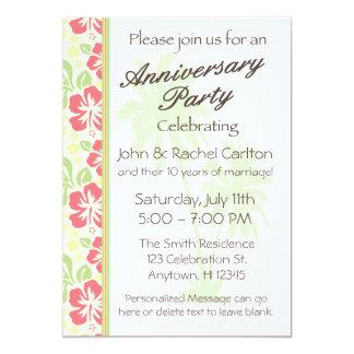 Invitación hawaiana de la fiesta de aniversario invitación 12,7 x 17,8 cm
