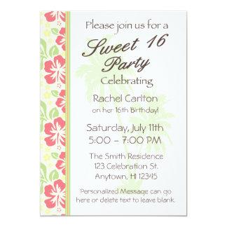 Invitación hawaiana de la fiesta de cumpleaños del invitación 12,7 x 17,8 cm