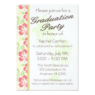 Invitación hawaiana de la fiesta de graduación de invitación 12,7 x 17,8 cm