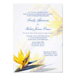 Invitación hawaiana del boda de la ave del paraíso