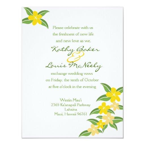 Invitación hawaiana del boda del Plumeria - 4,25 x