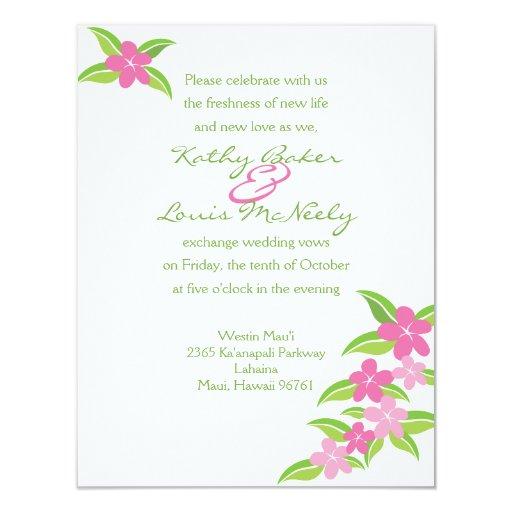 Invitación hawaiana rosada del boda del Plumeria - Invitación 10,8 X 13,9 Cm