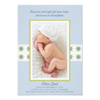 Invitación hebrea del nacimiento de la foto del invitación 12,7 x 17,8 cm