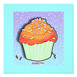 Invitación helada melocotón anaranjado de la invitación 13,3 cm x 13,3cm