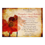 Invitación hermosa del boda de la flor roja de la