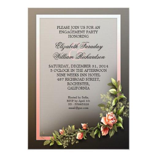 invitación hermosa del fiesta de compromiso