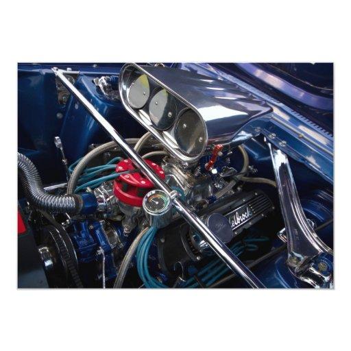 Invitación hermosa del motor de coche invitación 12,7 x 17,8 cm