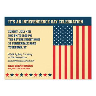 Invitación horizontal del viejo Día de la Independ