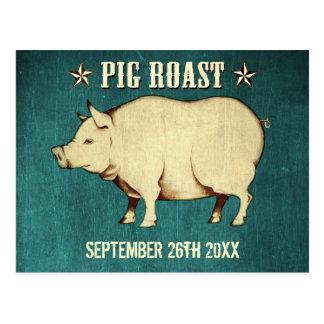 Invitación I (azul) de la postal de la carne asada