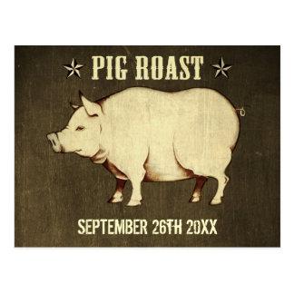 Invitación I (Brown) de la postal de la carne asad