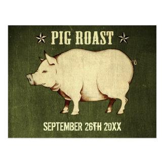 Invitación I (verde) de la postal de la carne asad