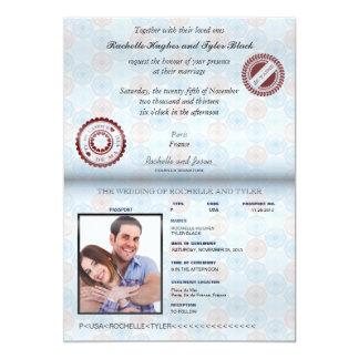 Invitación II del boda del pasaporte de Francia Invitación 12,7 X 17,8 Cm