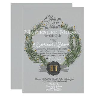 Invitación imperecedera de la guirnalda w/Monogram