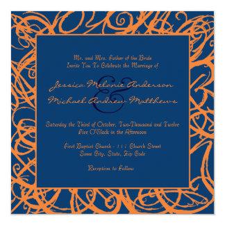 Invitación incompleta azul y anaranjada del boda
