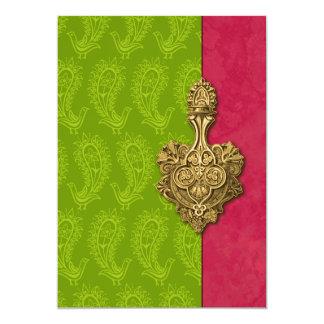 Invitación india del boda de los pavos reales invitación 12,7 x 17,8 cm