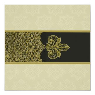 Invitación india del boda del ornamento floral del invitación 13,3 cm x 13,3cm