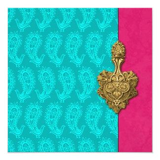 Invitación india del boda del pavo real de Paisley
