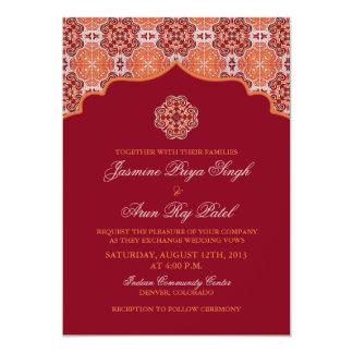 Invitación india del boda del rojo anaranjado del