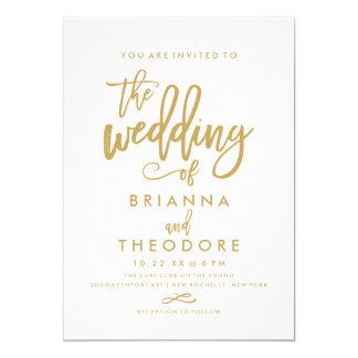Invitación indicada con letras del boda del oro de