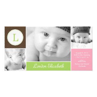 Invitación inicial moderna del nacimiento de la ni tarjetas fotográficas