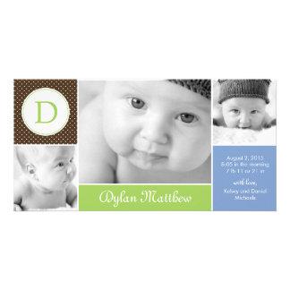 Invitación inicial moderna del nacimiento del bebé tarjeta personal con foto