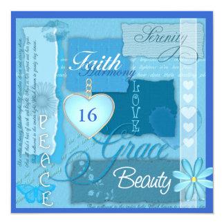 Invitación inspirada azul del DULCE 16