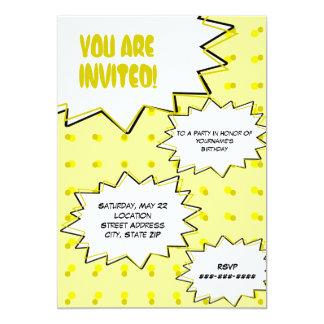 Invitación inspirada cómica de semitono amarilla