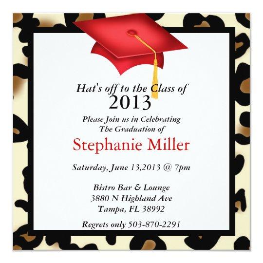 """Invitación/invitación de la graduación del safari invitación 5.25"""" x 5.25"""""""