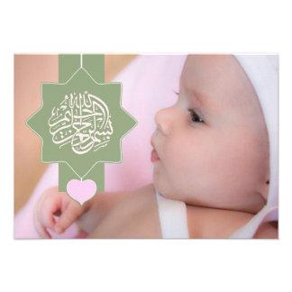 Invitación islámica de la foto del bebé de Aqiqah