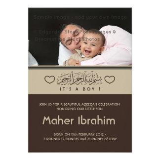 Invitación islámica del bebé de la foto de Aqiqah
