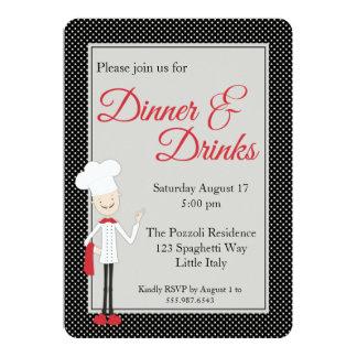 Invitación italiana de la cena del cocinero y del invitación 12,7 x 17,8 cm