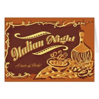Invitación italiana de la noche tarjeta de felicitación