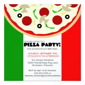 Invitación italiana del fiesta de la pizza