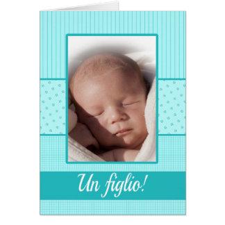 Invitación italiana del nacimiento del bebé tarjeta de felicitación