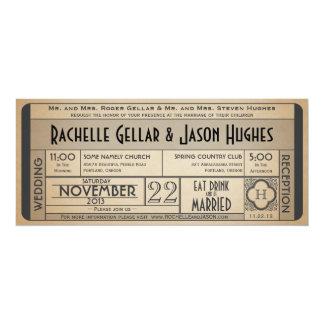 Invitación IV del boleto del boda del vintage --