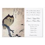 Invitación japonesa del boda del búho del vintage