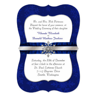 Invitación Jeweled azul elegante del boda del copo