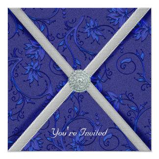 Invitación Jeweled azules marinos del fiesta