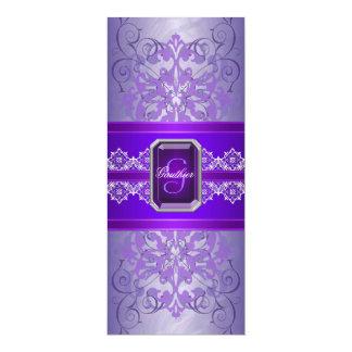 Invitación Jeweled púrpura del boda de la cinta de