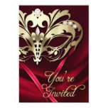 Invitación Jeweled rojo del fiesta de la mascarada
