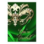 Invitación Jeweled verde del fiesta de la
