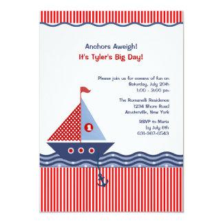 Invitación juvenil náutica del cumpleaños de la invitación 12,7 x 17,8 cm