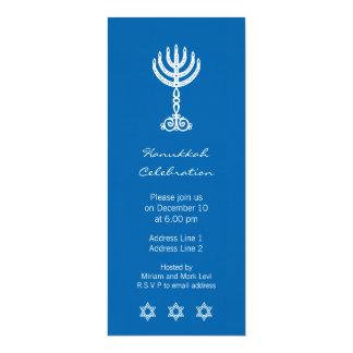 Invitación larga azul del adorno de Jánuca Invitación 10,1 X 23,5 Cm