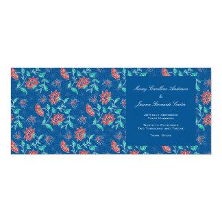 Invitación larga del boda del batik floral de